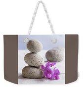 Meditation Stones Pink Flowers On White Sand Weekender Tote Bag