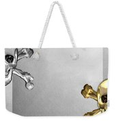 Memento Mori - Gold And Silver Human Skulls And Bones On White Canvas Weekender Tote Bag