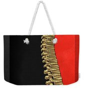 Memento Mori - Gold Human Backbone Over Black And Red Canvas Weekender Tote Bag