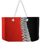 Memento Mori - Silver Human Backbone Over Red And Black Canvas Weekender Tote Bag
