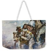 Men And Horses Battling A Storm Weekender Tote Bag by James Edwin McConnell