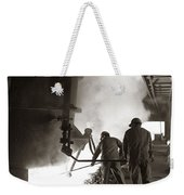 Men Working Blast Furnace At Steel Weekender Tote Bag