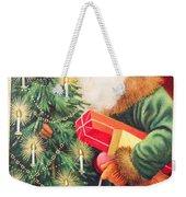 Merry Christmas Santa Delivers Gifts Vintage Card Weekender Tote Bag