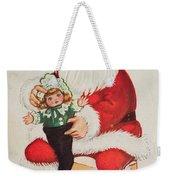 Merry Christmas Santa Pulls Doll From His Sack Vintage Card Weekender Tote Bag