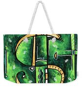 Metallic Gold Dollar Sign For The Love Of Money Mini Pop Art Painting Madart Weekender Tote Bag