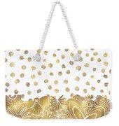 Metallic Gold Floral Flower Swirls Trendy Unique Art By Madart Weekender Tote Bag
