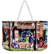 Metuchen Nj - Bicyclists On Main Street Weekender Tote Bag