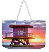 Miami Beach Round Life Guard House Sunrise Weekender Tote Bag