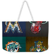 Miami Sports Fan Recycled Vintage Florida License Plate Art Marlins Heat Dolphins Panthers Weekender Tote Bag