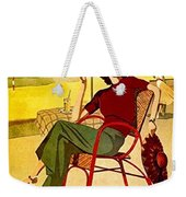 Miami, Woman On The Beach Under Sunshade Weekender Tote Bag