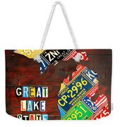 Michigan License Plate Map Weekender Tote Bag by Design Turnpike