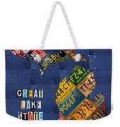 Michigan License Plate Map Great Lake State With Vintage Blue Plate Background Edition Weekender Tote Bag