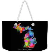 Michigan Map Color Splatter 2 Weekender Tote Bag