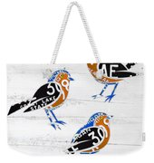 Michigan Robins State Bird Recycled Vintage License Plate Art On White Barn Wood Weekender Tote Bag