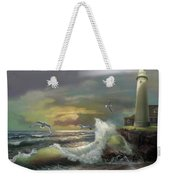 Michigan Seul Choix Point Lighthouse With An Angry Sea Weekender Tote Bag