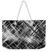 Micro Linear Black And White Weekender Tote Bag