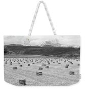 Mid June Colorado Hay  And The Twin Peaks Longs And Meeker Bw Weekender Tote Bag
