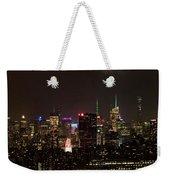 Midtown West Manhattan Skyline Aerial At Night Weekender Tote Bag