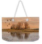 Migrating Swans With Sunrise Weekender Tote Bag
