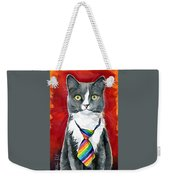 Mika - Gray Tuxedo Cat Painting Weekender Tote Bag