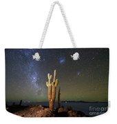 Milky Way Magellanic Clouds And Giant Cactus Incahuasi Island Bolivia Weekender Tote Bag