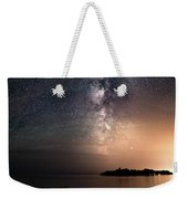 Milky Way Over Mary Island From Silver Harbour Near Thunder Bay Weekender Tote Bag