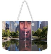 Millennium Park Fountain And Chicago Skyline Weekender Tote Bag