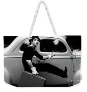 Mime Running Along Side Of Classic Hot Rod Weekender Tote Bag