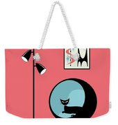 Shower Curtain Mini Atomic Cat On Pink  Weekender Tote Bag