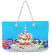 Mini Donut Cake With  Blue Candle By Sheila Fitzgerald Mini Donut Cake With Pink Candle Weekender Tote Bag