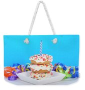 Mini Donut Cake With  Blue Candle Weekender Tote Bag