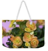 Miniature Gardening Kit With Orange Begonia Background Weekender Tote Bag