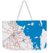 Minimalist Modern Map Of Brisbane, Australia 6 Weekender Tote Bag