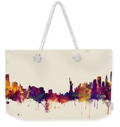 Minneapolis And New York Skylines Mashup Weekender Tote Bag