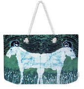 Mirror Image Goats In Moonlight Weekender Tote Bag by Carol Law Conklin