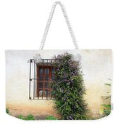 Mission Window With Purple Flowers Weekender Tote Bag