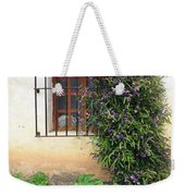 Mission Window With Purple Flowers Vertical Weekender Tote Bag