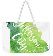 Missouri Watercolor Map - Jefferson City Hand Lettering  Weekender Tote Bag