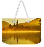 Misty Lake Bled At Sunrise Weekender Tote Bag