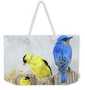 Misty Morning Meadow- Goldfinches And Bluebird Weekender Tote Bag