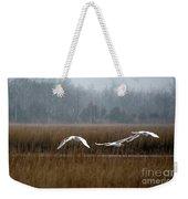 Misty Mute Swans Soaring South Jersey Wetlands Weekender Tote Bag