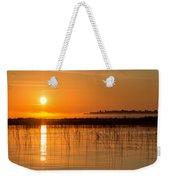 Misty Orange Sunrise On Boy Lake Weekender Tote Bag