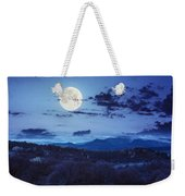 Mixed Forest Near Valley In Mountains  On Hillside At Night Weekender Tote Bag
