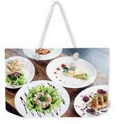 Mixed Modern Gourmet Fusion Food Dishes On Table Weekender Tote Bag