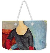 Mme Hebuterne In A Blue Chair Weekender Tote Bag by Amedeo Modigliani