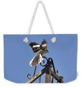 Mockingbird Landing On Fence Weekender Tote Bag