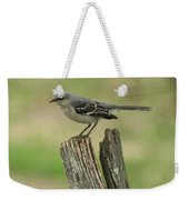 Perched On An Old Fence Weekender Tote Bag