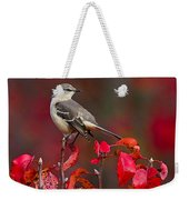 Mockingbird On Red Weekender Tote Bag