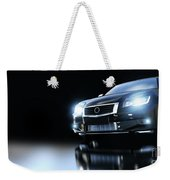 Modern Black Metallic Sedan Car In Spotlight. Banner Weekender Tote Bag