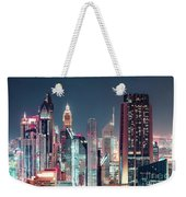 Modern City Architecture By Night. Dubai. Weekender Tote Bag